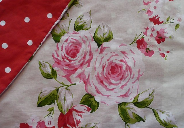 polka dots + roses duvet cover