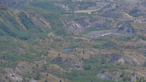 A small pond in the hummocky terrain of the debris avalanche deposit.