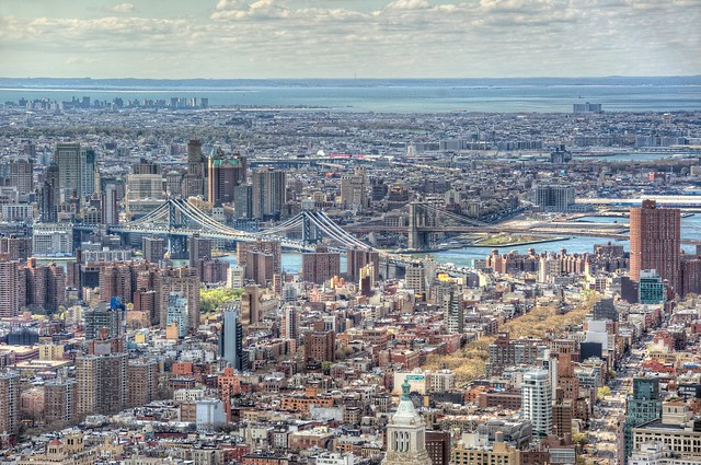 Brooklyn as seen from the top of the Empire State Building in New York City HDR