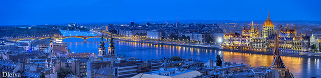 Pest panorama from Buda Hill (Budapest, Hungary)