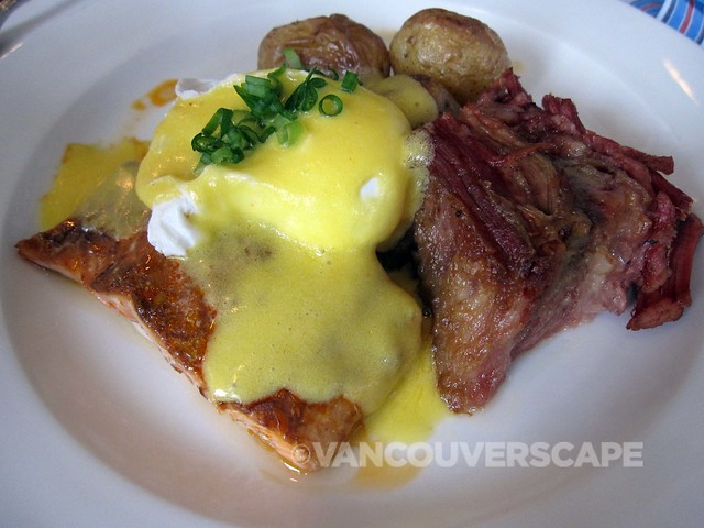 Baked steelhead trout, beef brisket, poached egg