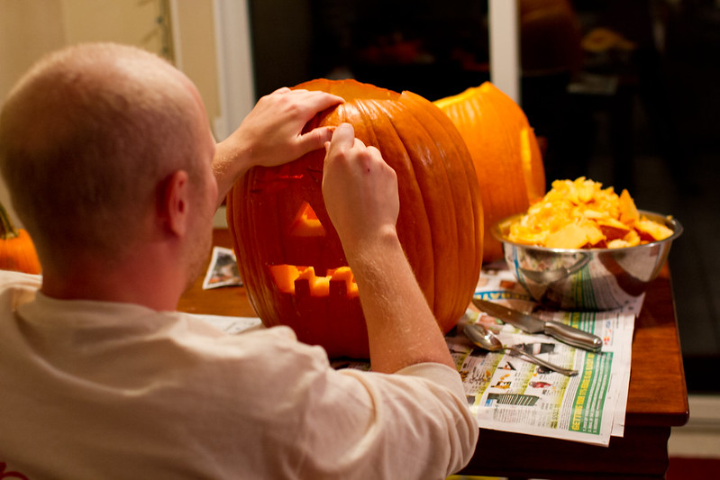 Patrick Carving Pumpkins