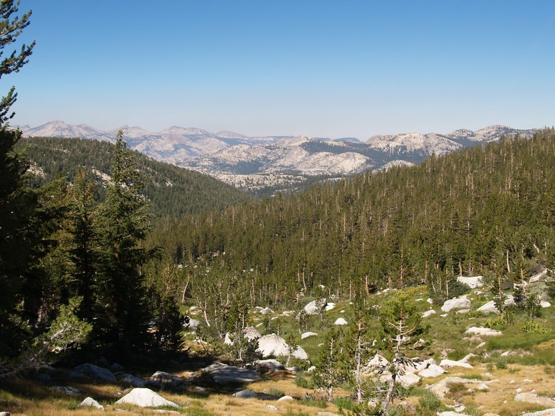 View west from the side of Peak 11806, with Tuolumne Peak on the far left; Cold Mountain, West Peak, Pettit Peak on the right