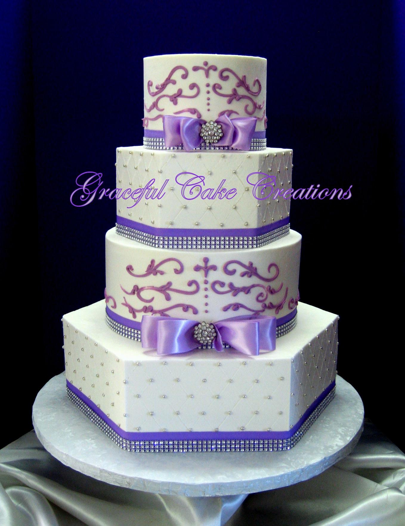 Elegant White and Lavender Wedding Cake with Bling
