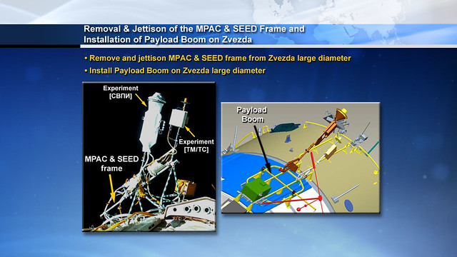 07 Removal & Jettison of the MPAC & SEED Frame and Installation of Payload Boom on Zvezda