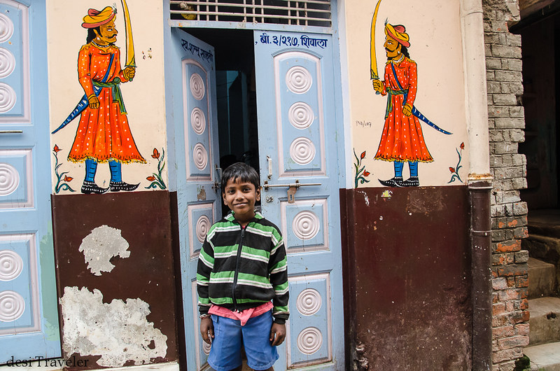 Street art Varanasi boy warrior