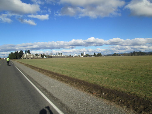 Howell Prairie Road, clouds and buildings