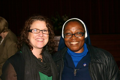 Reunion of the West-Africa/Ireland Schools Network at the centenary Mass on October 4, 2013. St Louis teacher and past pupil Lisa Cullen (left) spent time in Jos, Nigeria, on an exchange programme, while Anna Obada SSL is currently on exchange in Ireland