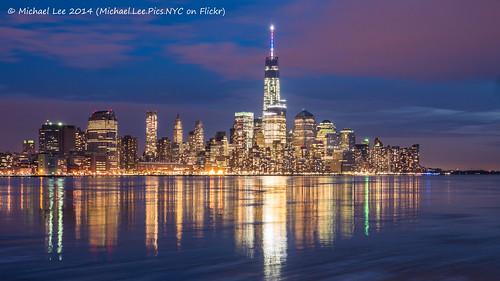 world park blue sunset red white newyork reflection skyline night river one pier newjersey long exposure manhattan center spire hour wtc hudson lower trade hoboken a