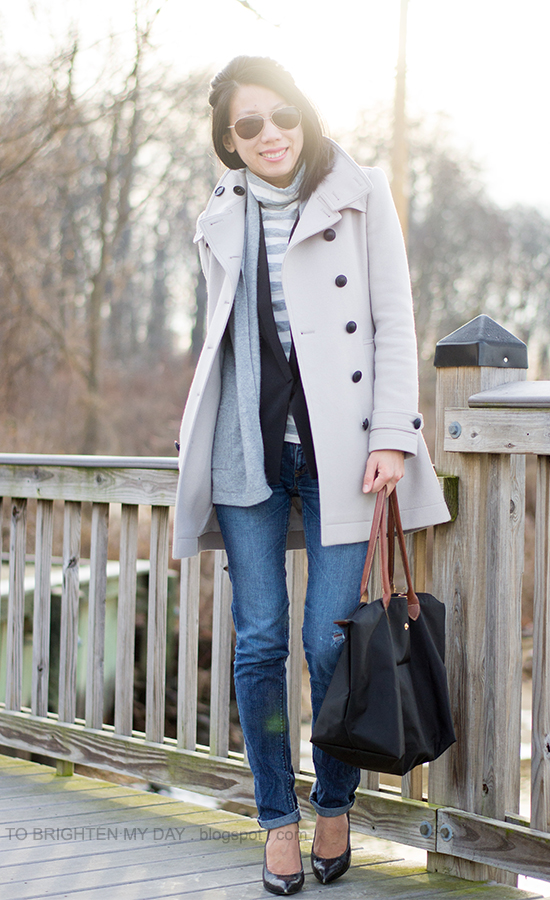 wool trench coat, striped turtleneck, black vest, gray open sweater