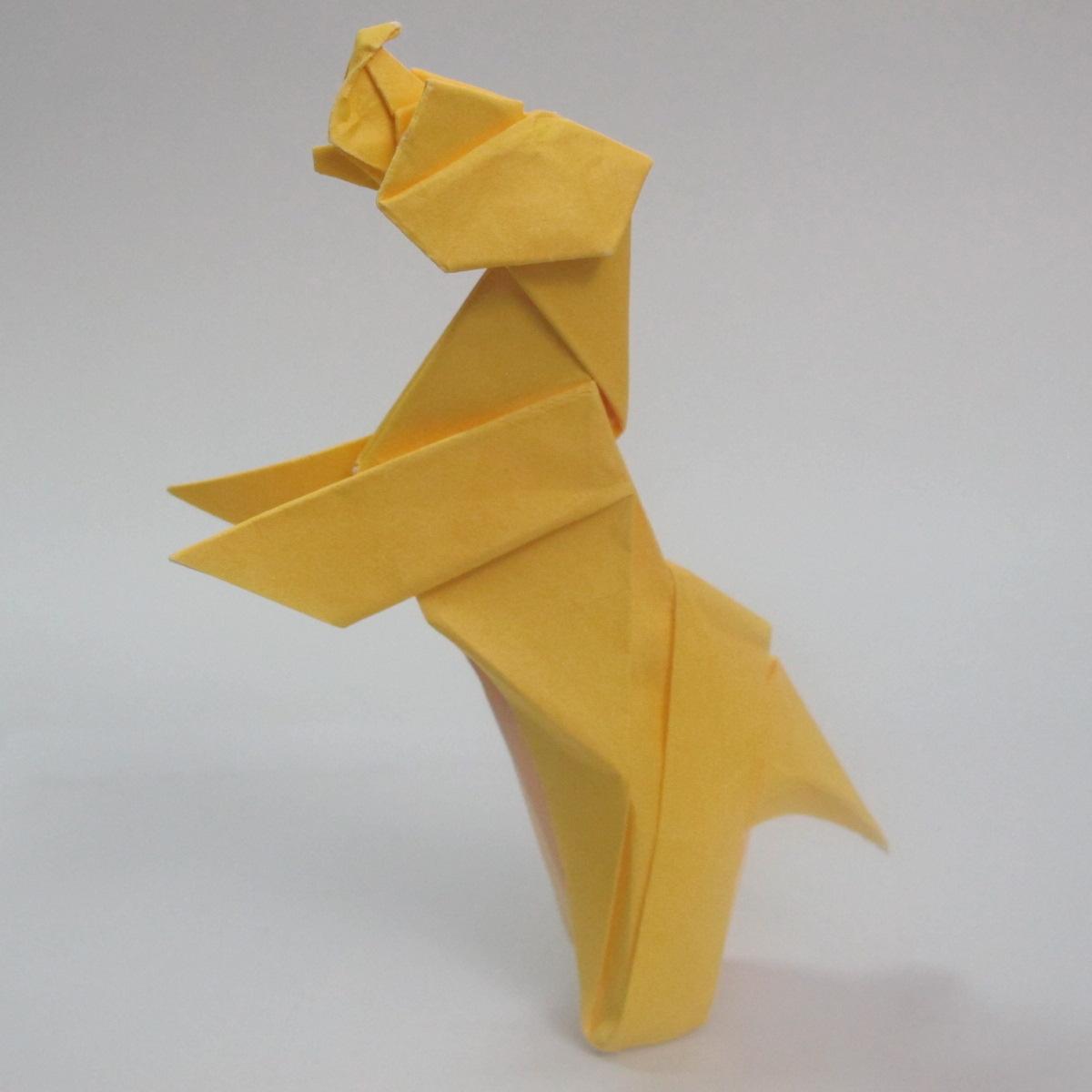 สอนวิธีพับกระดาษเป็นรูปลูกสุนัขยืนสองขา แบบของพอล ฟราสโก้ (Down Boy Dog Origami) 115