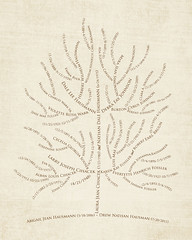 Family tree with names art cream brown ancestry tree roots dates