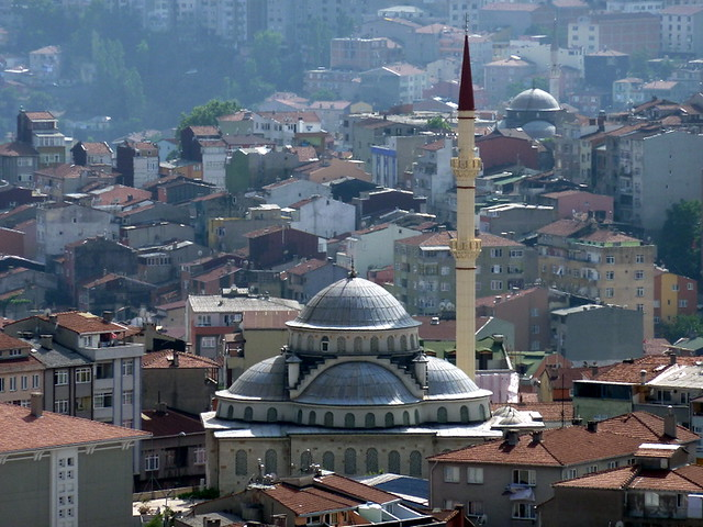 Mosque surrounded by houses, Istanbul, Turkey