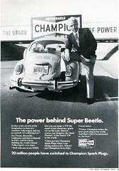 1972 Champion Spark Plug Advertisement Volkswagen Hot Rod October 1972