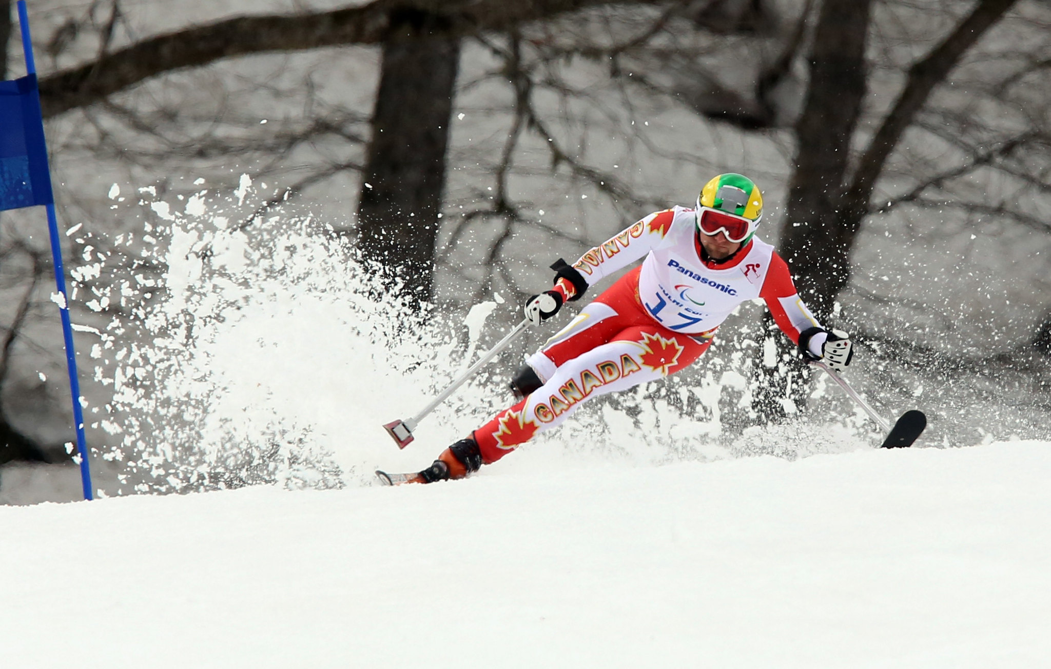 Matt Hallat kicks up some spray in Sochi, RUS during the Super-G at the 2014 Paralympic Winter Games