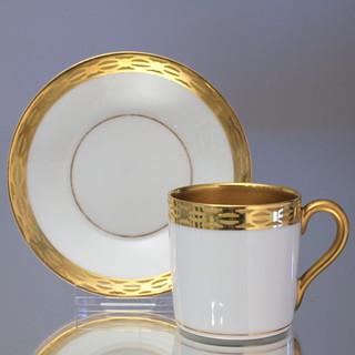 Nymphenburg Mokkatasse Jugendstil Gold mit Gravur