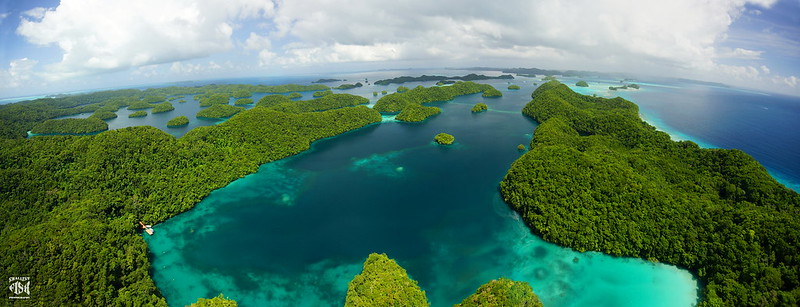 Palau Islands from above - Pano