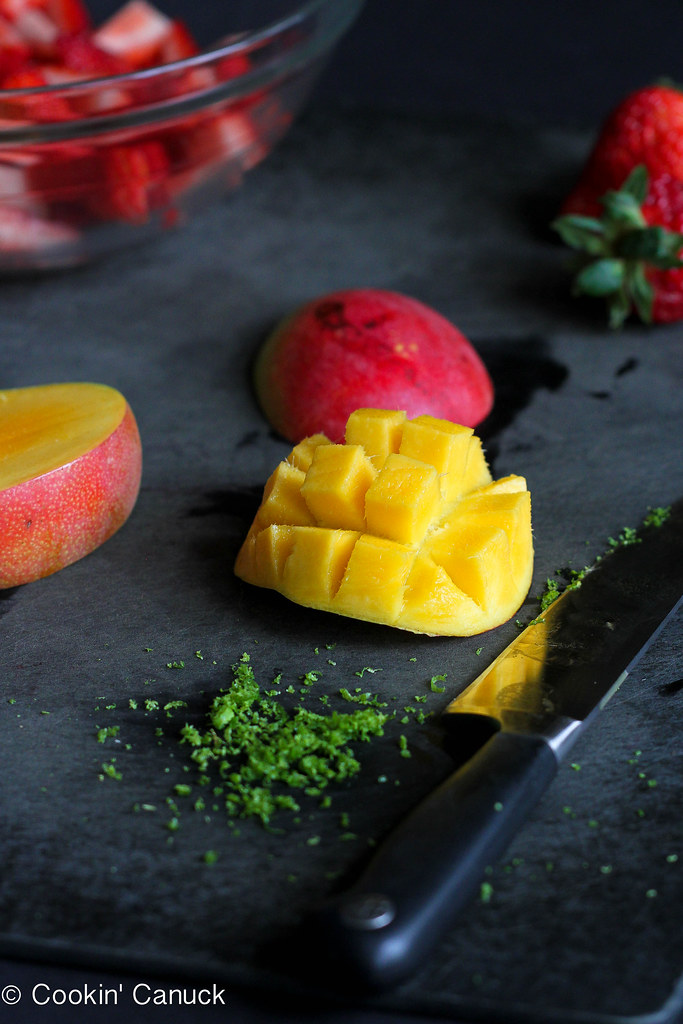 Strawberry and Mango Fruit Salad Recipe | cookincanuck.com #recipe #vegan #vegetarian #glutenfree