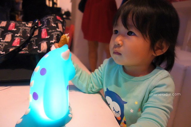 Nakayla (Mabel's daughter) with Philips Disney Soft Pal, Sully.