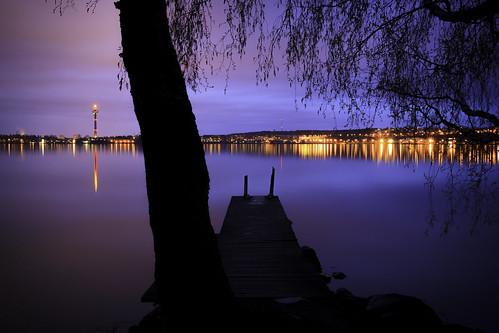 city longexposure sunset sky lake blur tree water skyline night suomi finland landscape lights evening pier spring still dock scenery cloudy overcast calm birch tampere maisema näsinneula järvi näsijärvi pirkanmaa lentävänniemi