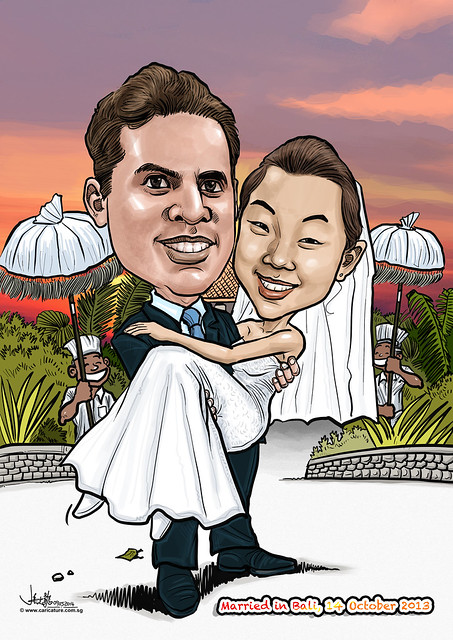 digital wedding couple caricature at Bali