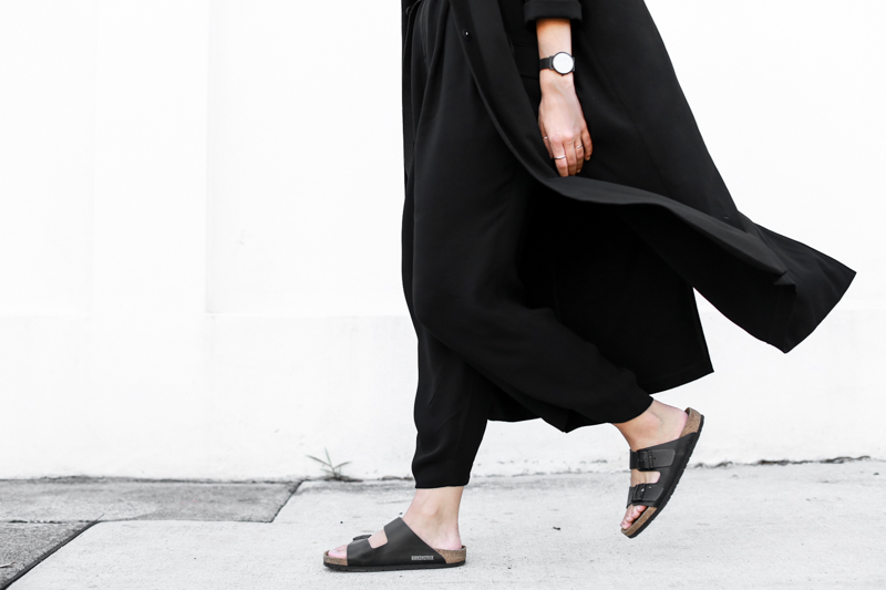 MODERN LEGACY fashion blog Birkenstock street style all black Arizona duster coat (1 of 1)