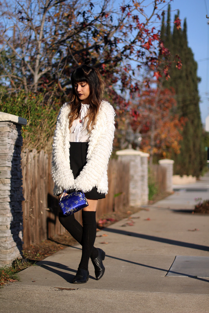 Nasty Gal peter pan collar blouse, Zara skirt, black knit thigh highs, vintage Asian clutch