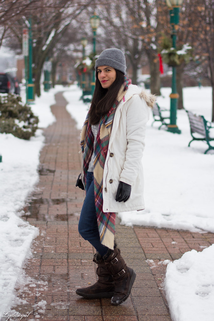 scarf print sweater, white parka, plaid scarf-1.jpg