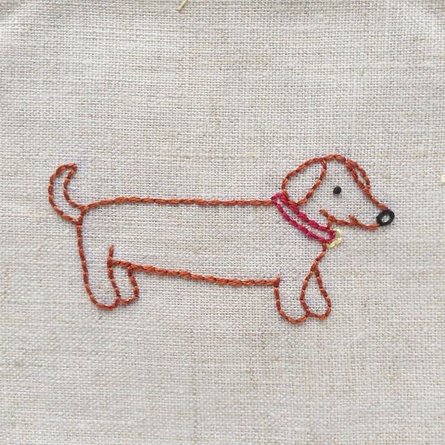 Darling Dachshund embroidery