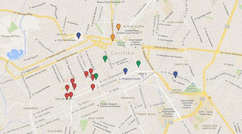 Mapa Hoteis Curitiba