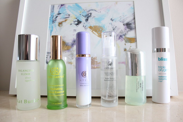 Kat Burki, Tata Harper, Tatcha, Odylique, Shiseido and Bliss facial essence spray review