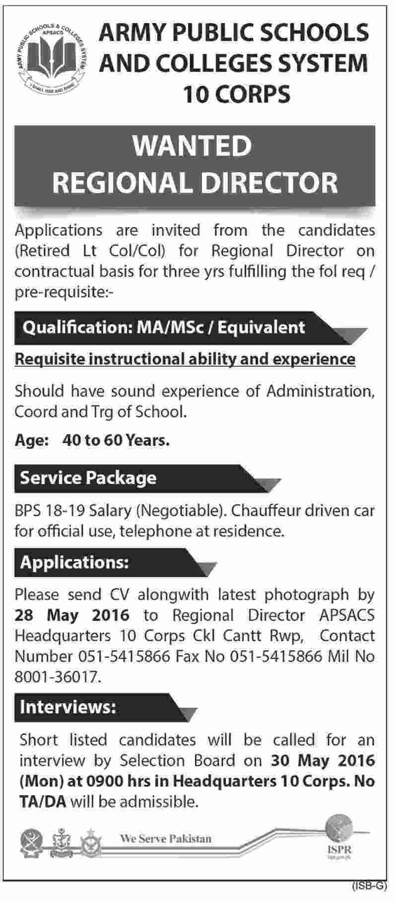 Army Public School and Colleges System Regional Director Required