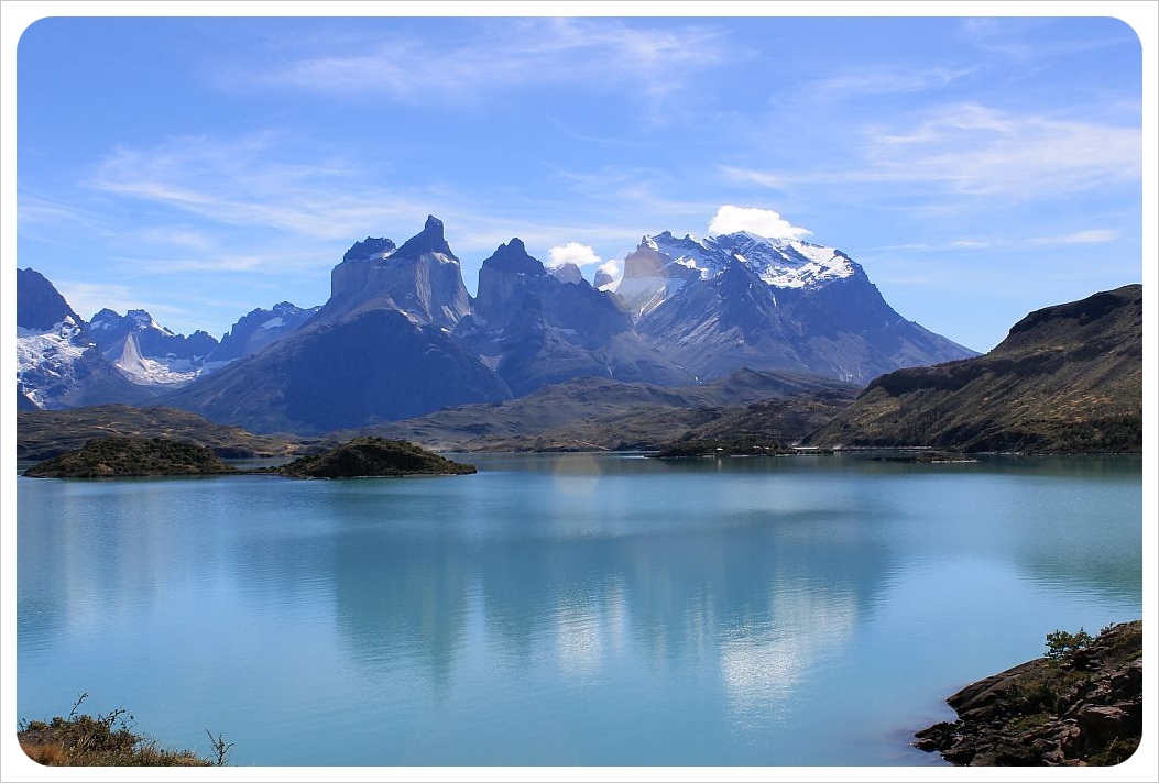 torres del paine mountains with reflection