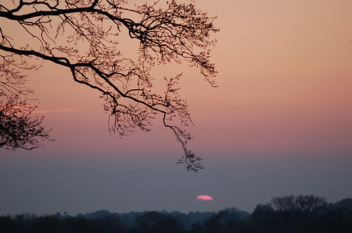 The last glimpse of the sun in evening haze