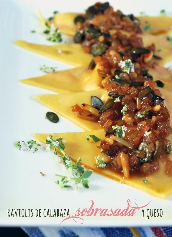 raviolis calabaza sobrasada y queso