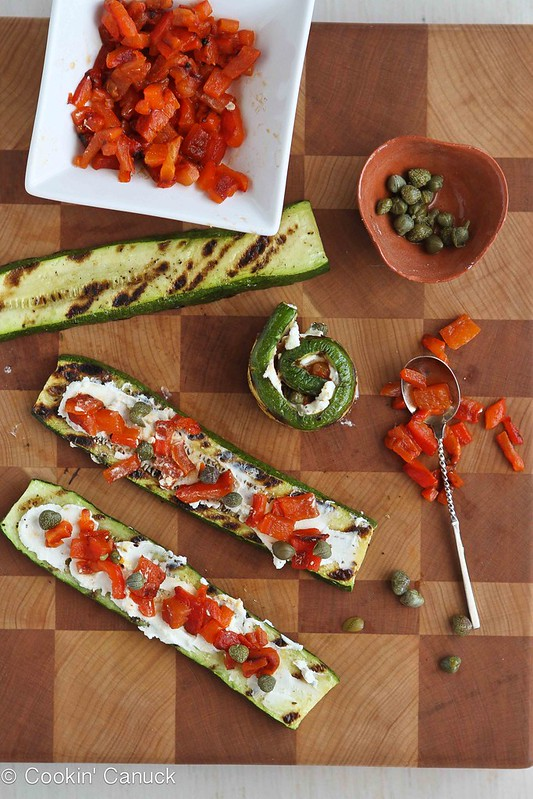 Grilled Zucchini Roll Recipe with Goat Cheese, Roasted Peppers & Capers | cookincanuck.com #vegetarian #recipe