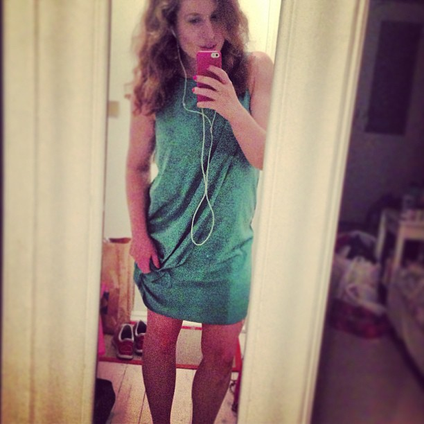 A night of firsts: Put on a green dress, drank red wine and home in bed before 1 am. New times☺