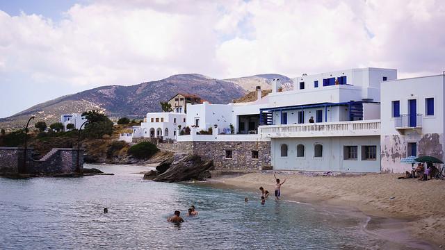 Enjoying the water in Moutsouna, Naxos