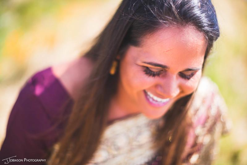 Bride in sari laughing