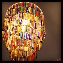 And now a chandelier made out of gelato spoons.