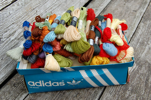 box of tapestry wool