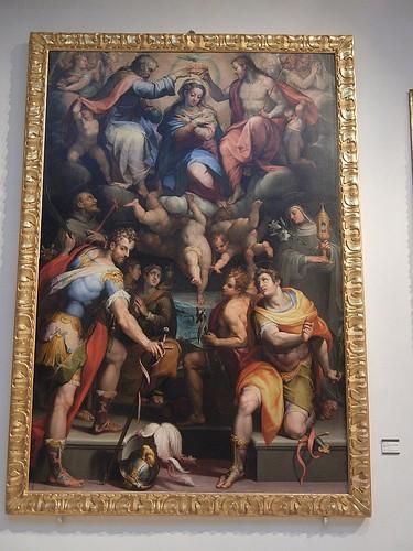DSCN3385 _ Madonna col Bambino in gloria e  i Santi Naborre, Felice, Francesco, Chiara, Giovanni Battista, Maria  Maddalena e Caterina, Samacchini Orazio, c 1570