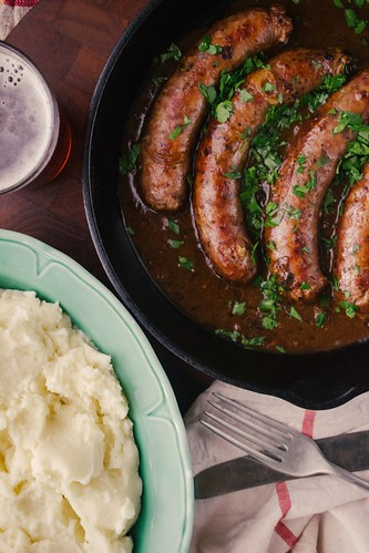 Cumberland Sausage with Mash and Beer and Onion Gravy