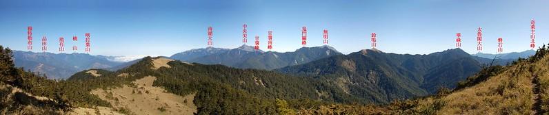 閂山頂展望寬景圖(北至南) 1