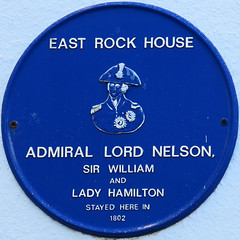 Photo of Horatio Nelson, Emma Hamilton, and William Hamilton blue plaque