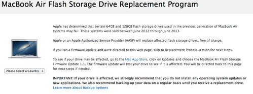 MacBook Air Flash Storage Drive Replacement Program