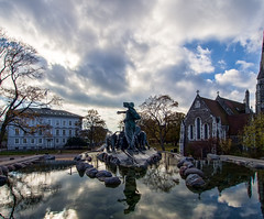 Fountain Reflections in Copenhagen (HDR)