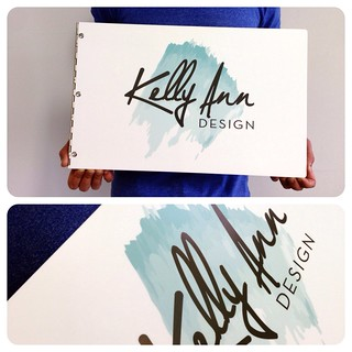 Custom graphic design portfolio book with printed decal treatment