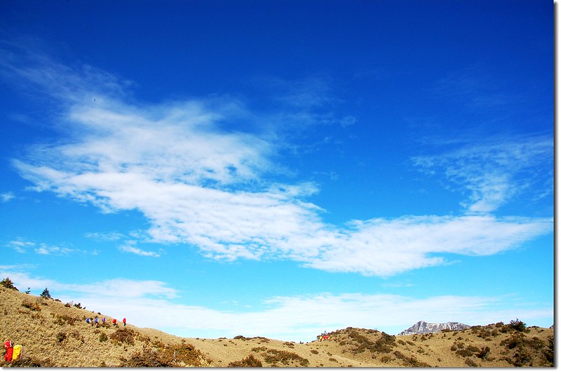 藍天白雲下的山客