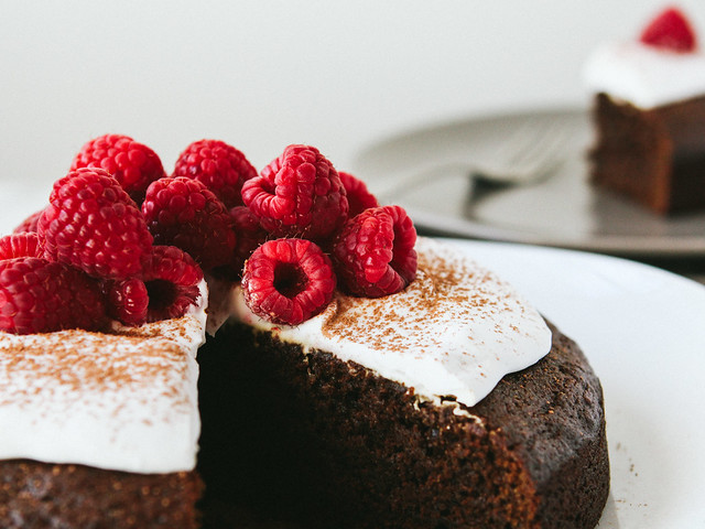 Gingerbread cake with coconut whipped topping